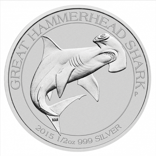 2015 1/2oz Perth Mint Silver Hammerhead Shark