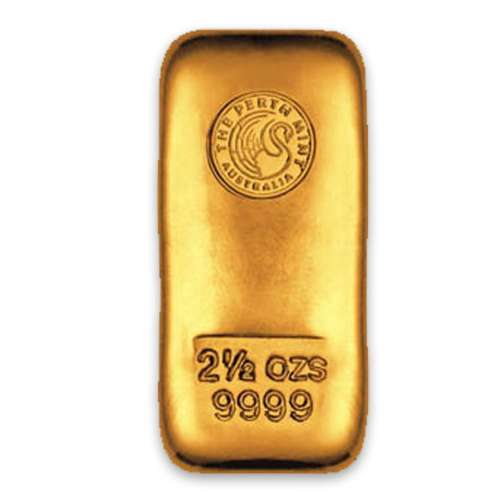 2.5oz Australian Perth Mint gold bar - cast