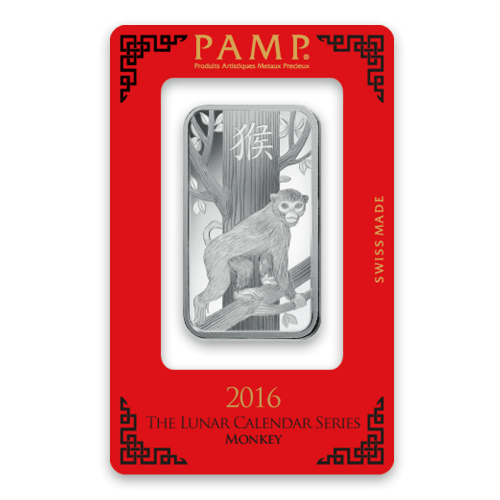 1oz PAMP Silver Bar - Lunar Monkey