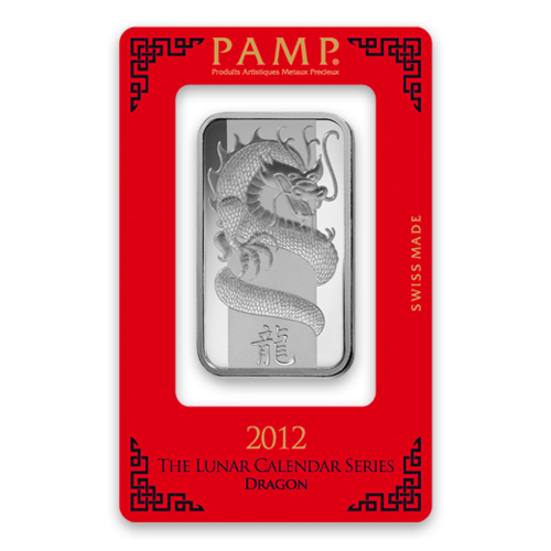 1oz PAMP Silver Bar - Lunar Dragon