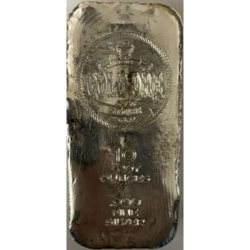 10oz Gold Ore Store poured silver bar