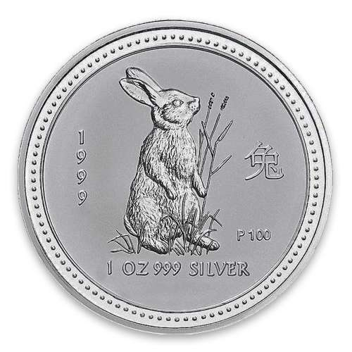 1999 1oz Australian Perth Mint Silver Lunar: Year of the Rabbit