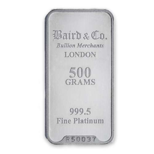 500g Baird & Co Platinum Minted Bar