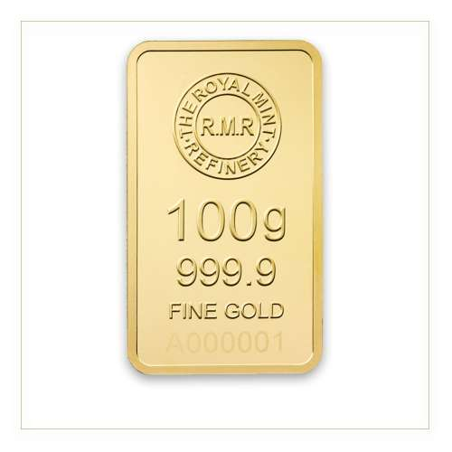 100g Royal Mint Refinery Minted Gold Bar