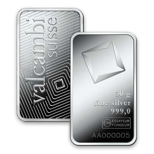50g Valcambi Minted Silver Bar