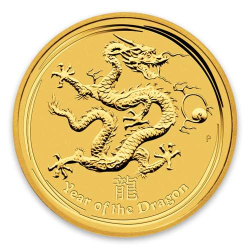 2012 1oz Australian Perth Mint Gold Lunar II: Year of the Dragon