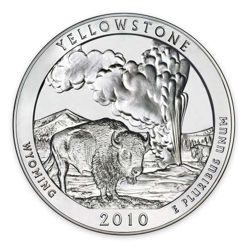2010 5 oz Silver America the Beautiful Yellowstone National Park