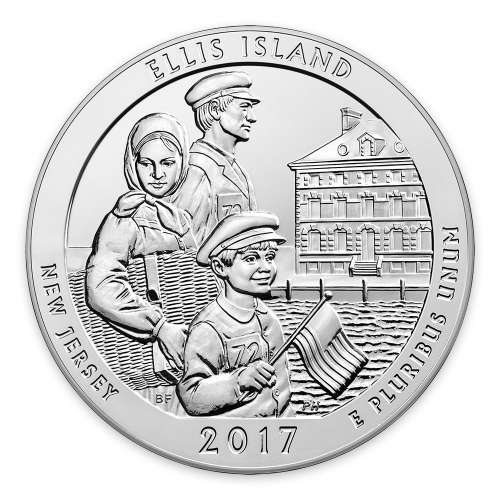 2017 5 oz Silver America the Beautiful Ellis Island National Monument Statue of Liberty