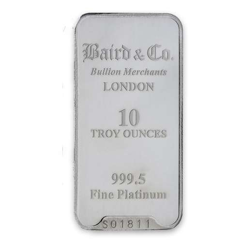 10oz Baird & Co Platinum Minted Bar