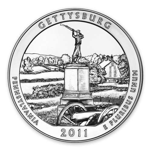 2011 5 oz Silver America the Beautiful Gettysburg National Military Park