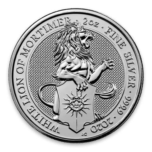 2020 2oz Britain Silver Queen's Beast: The White Lion of Mortimer